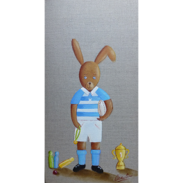 Tableau Enfant Lapin Rugby 20x40